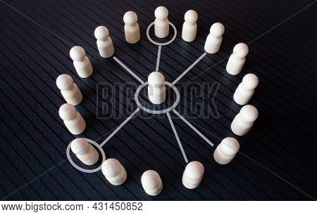 Chain Of People Figurines Connected By White Lines. Cooperation And Interaction Between People And E