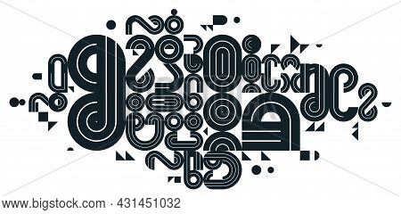 Abstract Modern Vector Trendy Design, Geometric Shapes Stylish Composition, Black And White Modular