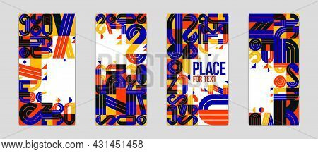 Abstract Covers Vector Designs Set, Geometric Modern Art Theme, Colorful Artistic Illustrations As A