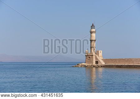Lighthouse In Chania In Crete With Foggy Skies In The Background