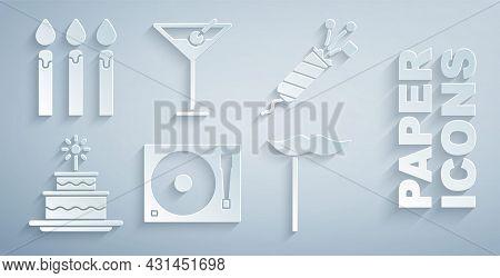 Set Vinyl Player With A Vinyl Disk, Firework Rocket, Cake Burning Candles, Paper Mustache On Stick,