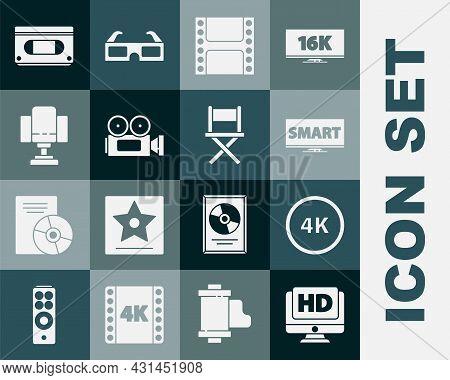 Set Monitor With Hd Video, 4k Ultra, Screen Tv Smart, Play Video, Cinema Camera, Director Movie Chai