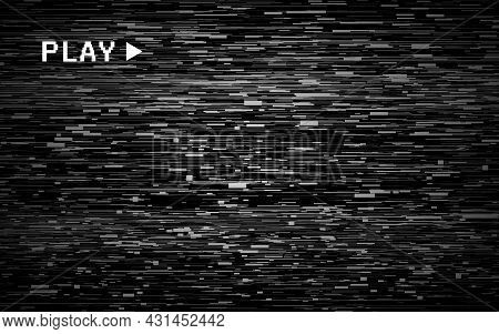 Glitch Retro Backdrop. Old Video Template. Vhs No Signal Effect. Abstract Videotape Background. Old