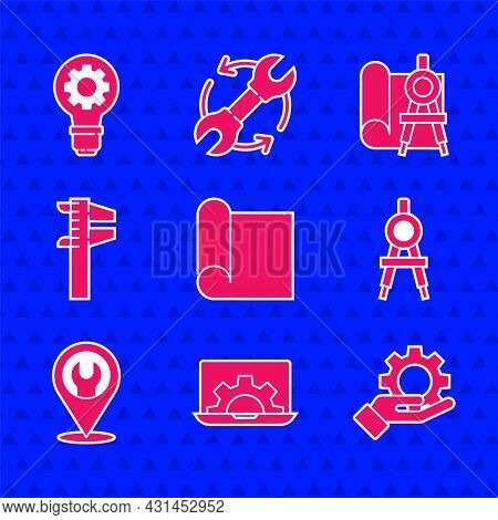 Set Graphing Paper For Engineering, Laptop And Gear, Settings The Hand, Drawing Compass, Location Wi
