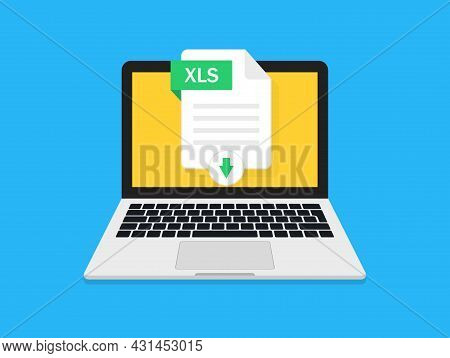 Excel File Download. Xls Sheet Download In Laptop. Icon Of Spreadsheet For Export Or Import Data. Do