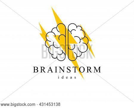 Brainstorm Concept Vector Logo Or Icon, Human Brain And Lightning Bolt Simple Symbol, Flat Modern St
