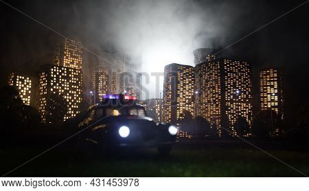 Cartoon Style City Buildings. Realistic City Building Miniatures With Lights. Background.