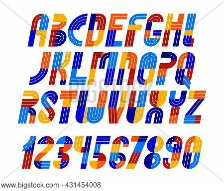 Sport Game Font, Vector Retro Trendy Geometric Alphabet Letters Set, Italic Speed Typeface, Numbers