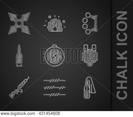 Set Compass, Barbed Wire, Cocktail Molotov, Bulletproof Vest, Sniper Rifle With Scope, Brass Knuckle