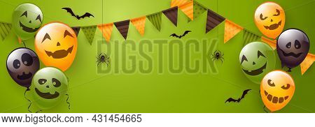 Banner With Orange, Green And Black Balloons With Scary Smiles, Pennants, Spiders And Bats On Green