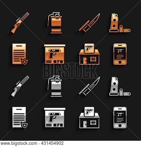 Set Military Ammunition Box, Gun Magazine And Bullets, Shop Weapon Mobile App, Hunting Shop, Firearm