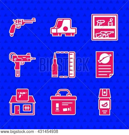 Set Bullet, Military Ammunition Box, Pepper Spray, Firearms License Certificate, Hunting Shop Weapon