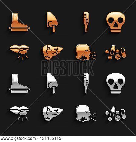 Set Hepatitis Virus, Skull, Medicine Pill Or Tablet, Man Coughing, Herpes Lip, Medical Thermometer,