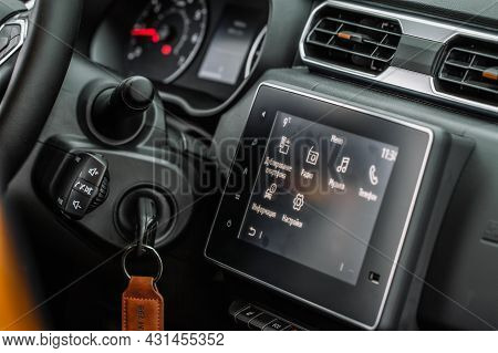 Moscow, Russia - May 08, 2021 Renault Duster Second Generation Interior View. Compact Suv Car Also C