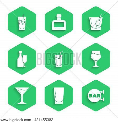 Set Cocktail, Glass With Water, Street Signboard Bar, Wine Glass, Martini, Bottle, Bloody Mary And I