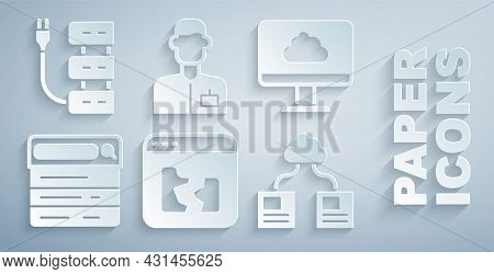 Set Broken File, Cloud Technology Data Transfer, Search Engine, Analyst Engineer And Server Icon. Ve