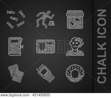 Set Police Badge With Id Case, Walkie Talkie, Donut, Murder, Plastic Bag Ziplock, Station Folder, Ev