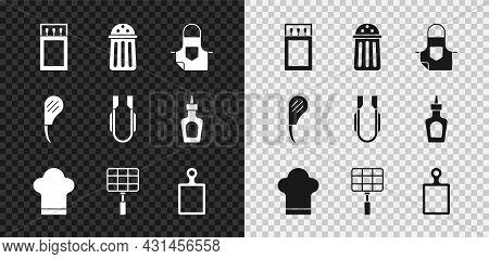Set Matchbox And Matches, Salt, Kitchen Apron, Chef Hat, Barbecue Steel Grid, Cutting Board, Rib Eye