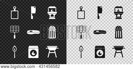 Set Cutting Board, Meat Chopper, Brick Stove, Burning Match With Fire, Barbecue Coal Bag, Grill, Ste