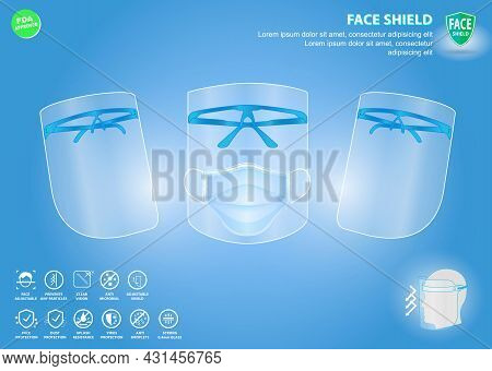 Set Of Face Shield Medical Protection Or Portable Face Shield Waterproof Or Personal Protective Equi