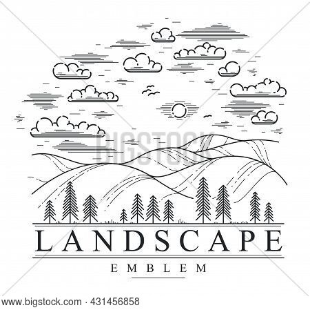 Beautiful Scenic Grasslands And Pine Trees Vector Linear Emblem Isolated On White, Outdoor Hiking Ca