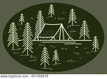 Camping Tent In Pine Forest Vector Linear Illustration On Dark, Holidays And Vacations In Woods Them