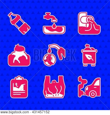 Set Gas Pump Nozzle And Globe, Say To Plastic Bags Poster, Car Exhaust, Recycle Bin With Recycle, Gl