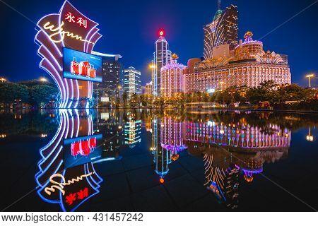 February 27, 2017: Casinos In Macau, China. Wynn Macau Is A Luxury Hotel And Casino Resort Operated