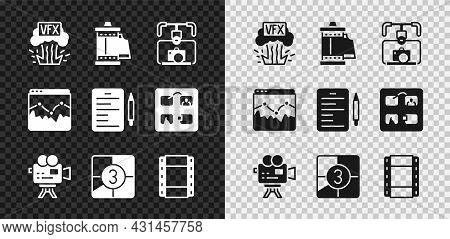 Set Vfx, Camera Roll Cartridge, Gimbal Stabilizer With Camera, Retro Cinema, Old Film Movie Countdow