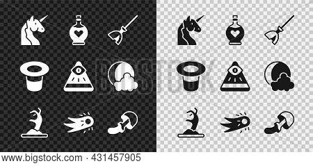 Set Unicorn, Bottle With Love Potion, Witches Broom, Zombie Hand, Fireball, Psilocybin Mushroom, Mag