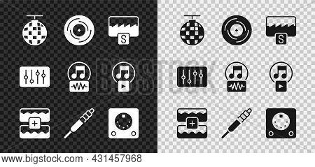 Set Disco Ball, Vinyl Disk, Music Wave Equalizer, Audio Jack, Drum Machine, Sound Mixer Controller A