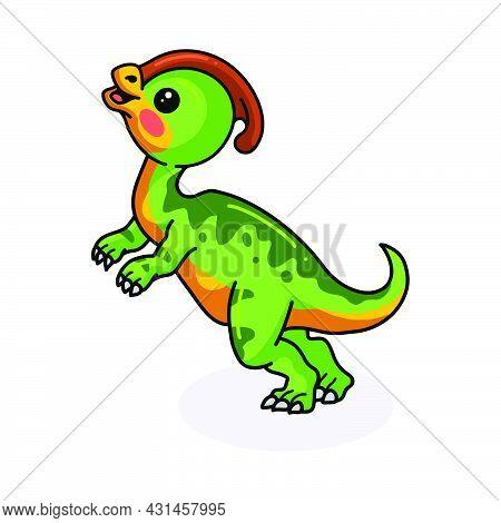 Vector Illustration Of Cute Little Parasaurolophus Dinosaur Cartoon Standing