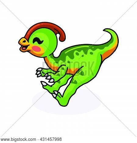 Vector Illustration Of Cute Little Parasaurolophus Dinosaur Cartoon Jumping