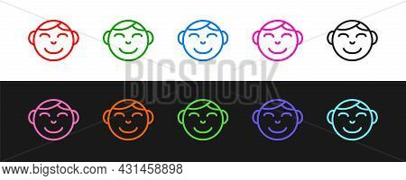 Set Line Happy Little Boy Head Icon Isolated On Black And White Background. Face Of Baby Boy. Vector