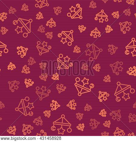 Brown Line Baby Crib Hanging Toys Icon Isolated Seamless Pattern On Red Background. Baby Bed Carouse