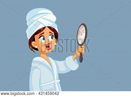 Happy Confident Woman Looking Into The Mirror Vector Cartoon