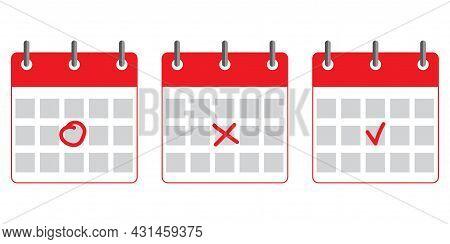 Red Simple Planner Icon. Planner Diary Symbol. Business Organizer. Calendar Emblem. Vector Illustrat