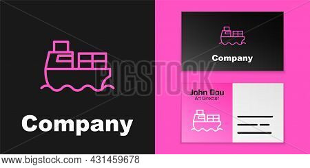 Pink Line Cargo Ship With Boxes Delivery Service Icon Isolated On Black Background. Delivery, Transp