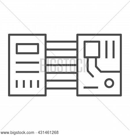Printed Circuit Board Layout Microchip Contacts Thin Line Icon, Electronics Concept, Pcb Vector Sign