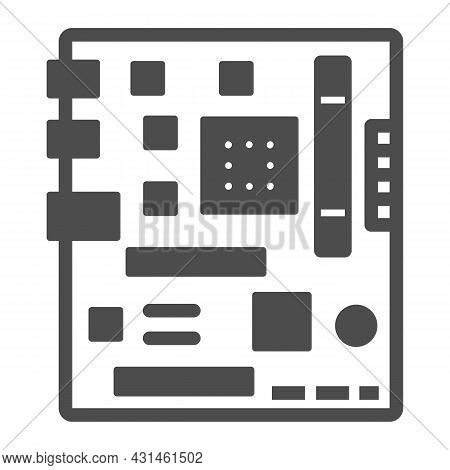 Motherboard Square Shape Layout Solid Icon, Electronics Concept, Microchip Fragments Vector Sign On