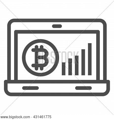 Bitcoin Surge Graph On Laptop Screen Line Icon, Cryptocurrency Concept, Btc Rate Vector Sign On Whit