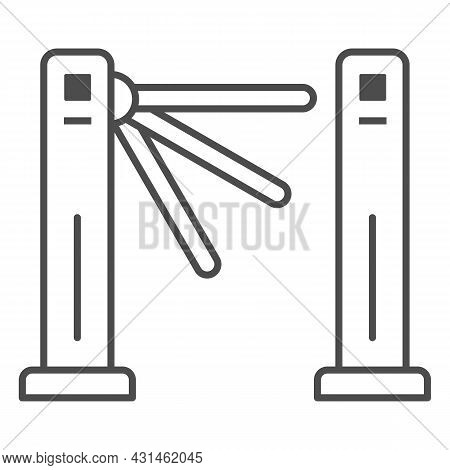 Turnstile Thin Line Icon, Security Check Concept, Tripod Gate Barrier Vector Sign On White Backgroun