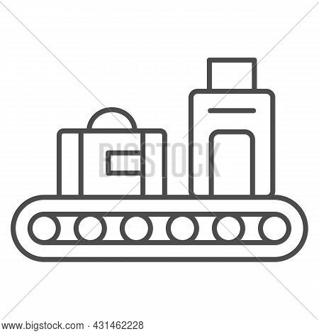 Luggage Conveyor Belt With Bags Thin Line Icon, Security Check Concept, Baggage Claim Vector Sign On