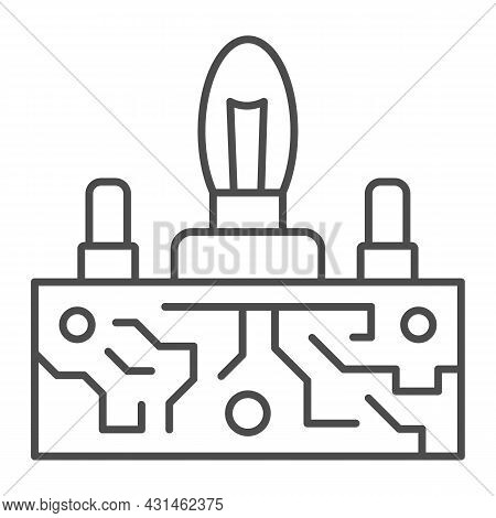 Lampas Pcb Control Thin Line Icon, Electronics Concept, Printed Circuit Board Lamps Vector Sign On W