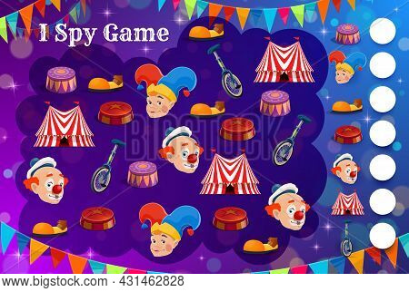 Kids Spy Game With Shapito Circus Characters And Items. Vector Education Puzzle, Counting Riddle Or