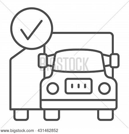 Container Truck, Checkmark, Cargo, Delivery Thin Line Icon, Transportation Concept, Lorry Vector Sig