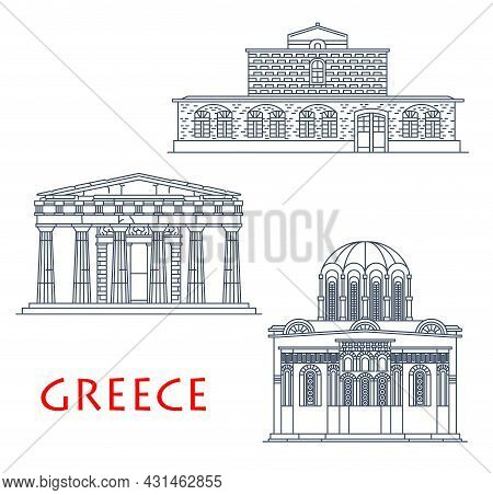 Greece Architecture Buildings, Greek Antique Travel Landmarks, Vector Icons. Saint Stephen Church In