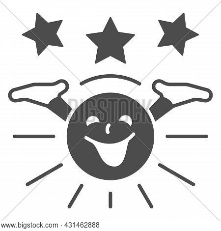 Smiling Sun With Hands And Stars Solid Icon, Weather And Climate Concept, Sunshine Vector Sign On Wh