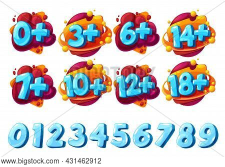 Age Limit Signs And Icons. Cartoon Vector Labels Zero, Three And Six Years Old, Fourteen, Seven And