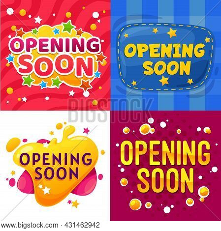 Opening Soon Cartoon Banners. Kids Store Or Shop Grand Opening Announcement Funny Vector Posters, Ev